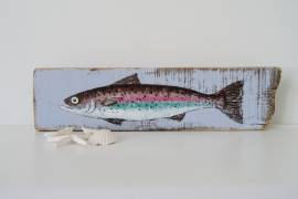 Rainbow Trout Painting on Reclaimed Wood, 49 cm x 13 cm image